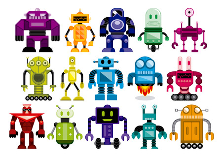 Vector Set Of Different Cartoon Robots Isolated