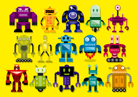 alien robot: Vector Set Of Different Cartoon Robots Isolated