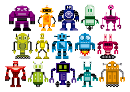 Set Of Different Cartoon Robots Isolated Çizim
