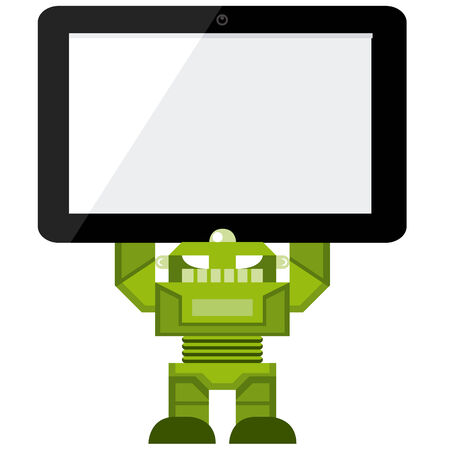 android tablet: Cartoon Green Robot Holding A Tablet