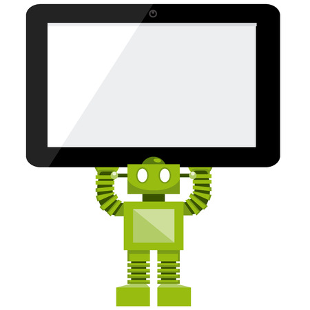 Cartoon Green Robot Holding A Tablet