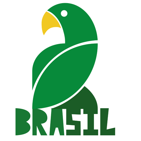 loros verdes: Vector Brasil Ilustración estilo aislados en el fondo Vectores