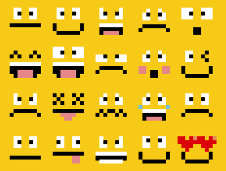 angry boy: Vector Set Of Different Cartoon Pixel Faces Illustration