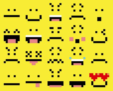 persona feliz: Vector conjunto de diferentes rostros de la historieta Pixel