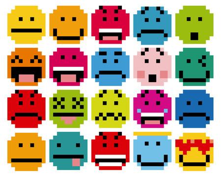 cara sonriente: Vector conjunto de diferentes rostros de la historieta Pixel