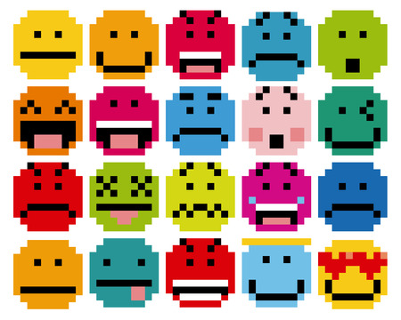 smiley face cartoon: Vector Set Of Different Cartoon Pixel Faces Illustration