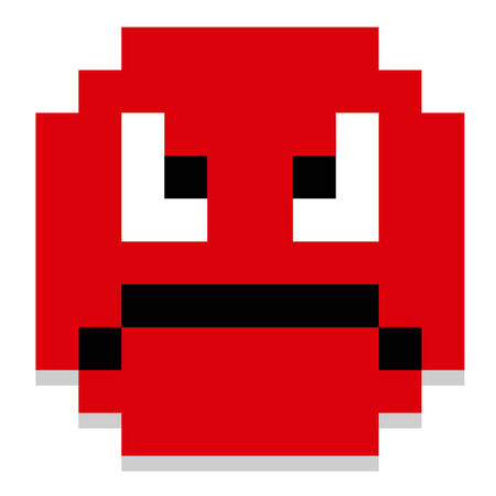8 bit: Vector Cute Cartoon Pixel Angry Face Isolated Illustration