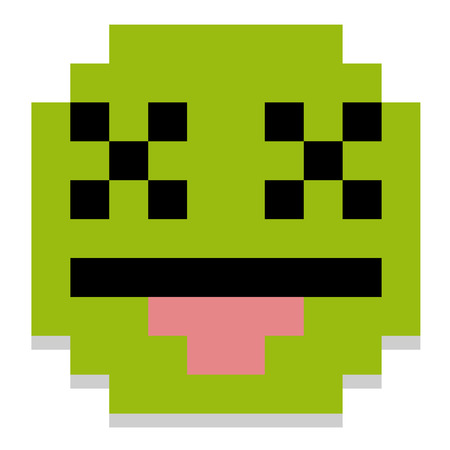 green face: Vector Cute Cartoon Pixel Dead Face Isolated Illustration