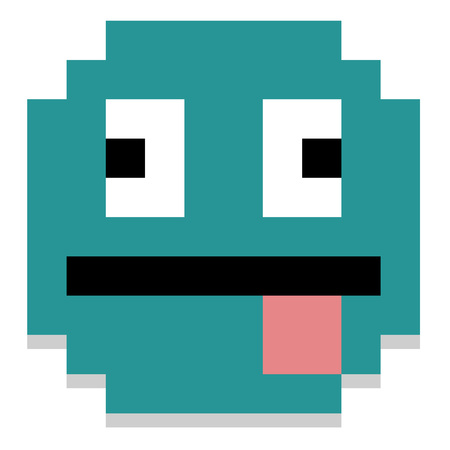 smiley face cartoon: Vector Pixel Cartoon Face With Tongue Out