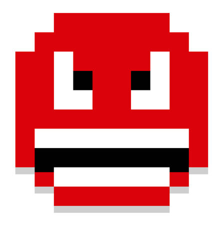 huffy: Vector Cartoon Pixel Angry Face Isolated
