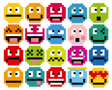 happy emoticon: Vector Set Of Different Cartoon Pixel Faces Illustration