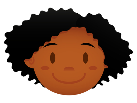 black teens: Vector Cartoon Face Isolated On White Background Illustration