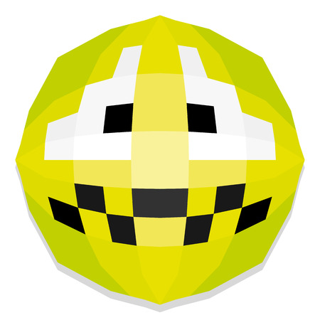 nausea: Vector Cute Cartoon Polygonal Face Illustration Isolated