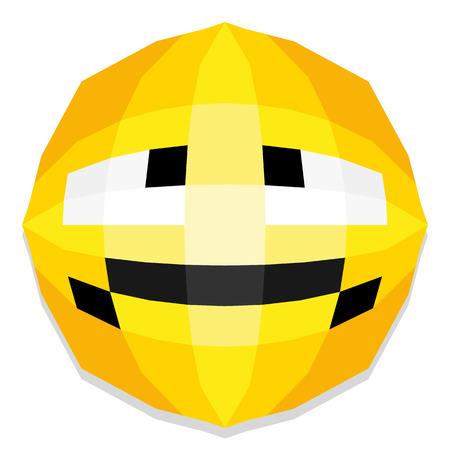grouch: Cute Cartoon Polygonal Face Illustration Isolated