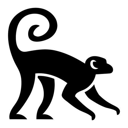 白い背景で隔離の様式化された猿図をベクターします。  イラスト・ベクター素材