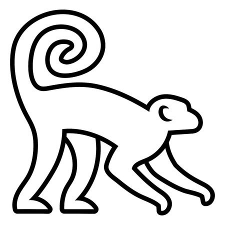 animal silhouettes: Vector Stylized Monkey Illustration Isolated On White Background