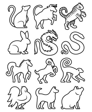 Set van gestileerde Chinese Zodiac Signs Stock Illustratie