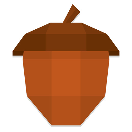 acorn seed: Vector Low Poly Style Brown Acorn Isolated