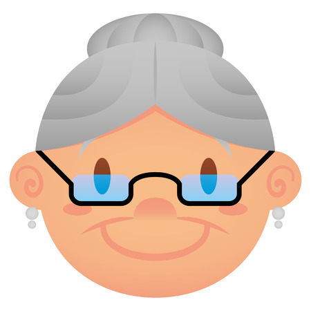 abuela: Vector de dibujos animados Cara Aislado Sobre Fondo Blanco Vectores
