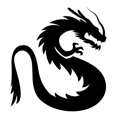 black and white dragon: Vector Stylized Dragon Illustration Isolated On White Background Illustration