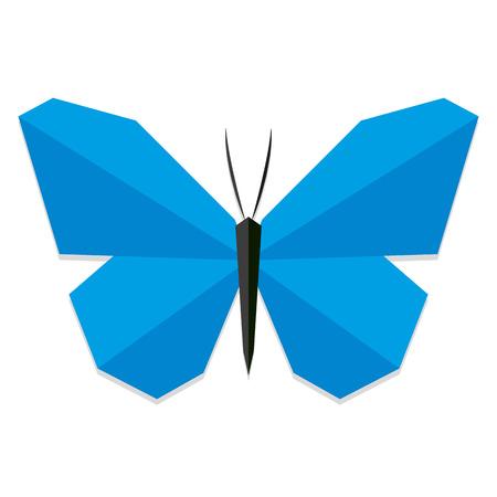 cartoon mariposa: Estilo Vector Low Poli mariposa azul aislado