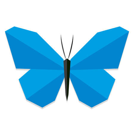 butterfly: Vector Low Poly Style Blue Butterfly Isolated