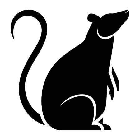 Vector Stylized Rat Illustration Isolated On White Background