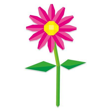 flor aislada: Estilo Vector Low Poli flor rosada aislada