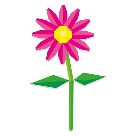 low poly: Vector Low Poly Style Pink Flower Isolated