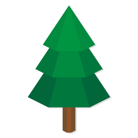 low poly: Vector Low Poly Style Green Pine Isolated