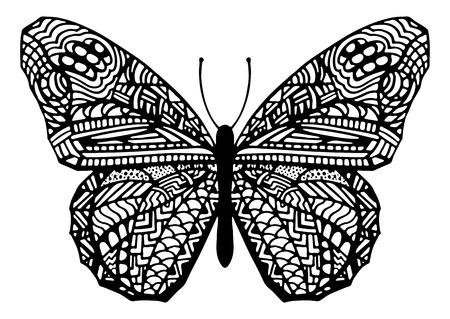 farfalla tatuaggio: Disegnato a mano illustrazione vettoriale Zentangle stile farfalla