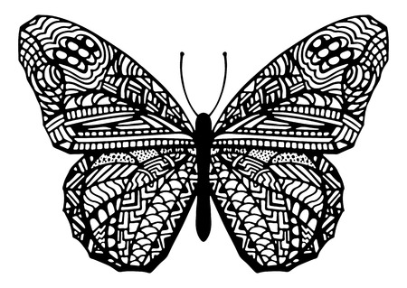 butterfly in hand: Vector Hand Drawn Zentangle Style Butterfly Illustration