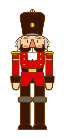 Vector Cartoon Happy Nutcracker Isolated On White Background Illustration