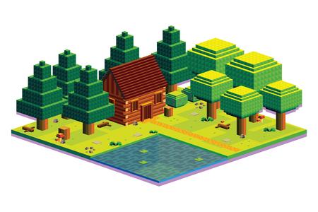 Vector Isometric Summer Forest Scene Isolated Illustration