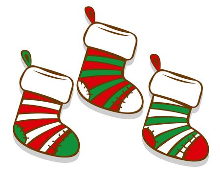 Vector Cartoon Christmas Socks Isolated On White Background