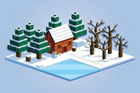 ベクトル等尺性冬の森シーン分離の図