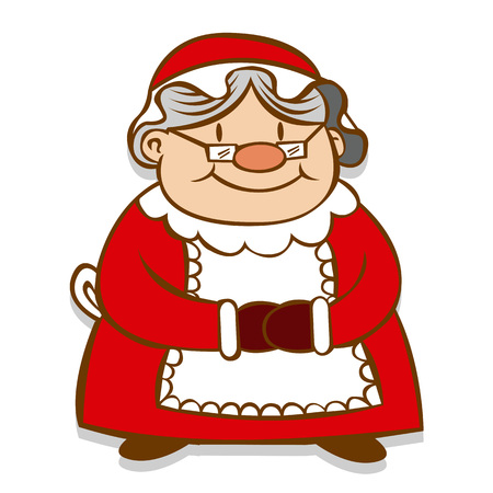 Vector Cartoon Mrs. Claus Isolated On White Background