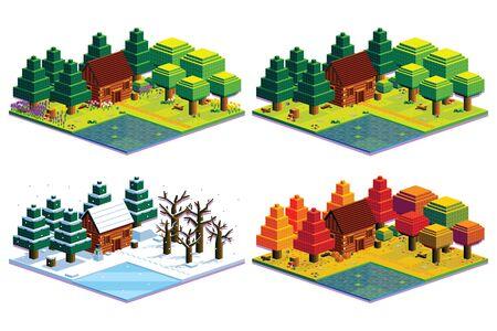 Vector Set Of Four Seasons Forest Scene Isolated Illustration Illustration