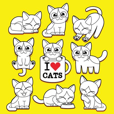 Vector Set Of Cartoon Cute Cats Isolated