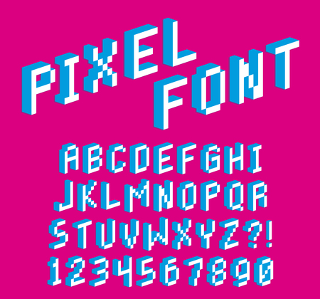 Vector Pixel 3D Font Alphabet And Numbers Isolated