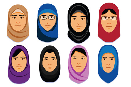 Vector Set Of Different Middle Eastern Women Illustration