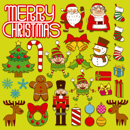 christmas cookie: Vector Set Of Christmas Elements Isolated On White Background