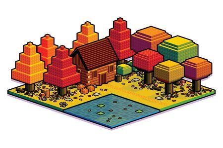Vector Isometric Autumn Forest Scene Isolated Illustration