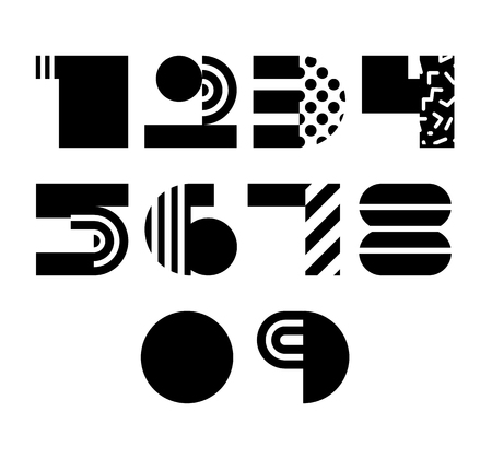 numbers abstract: Vector Geometric Abstract Numbers Isolated. 90s 80s Style