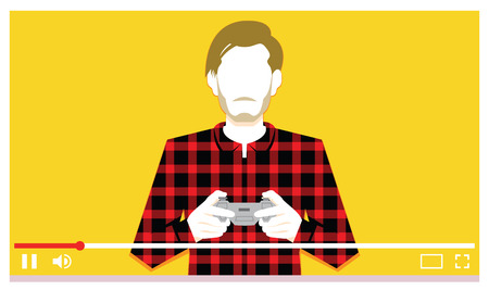 Vector Young Man Playing Videogames On Video