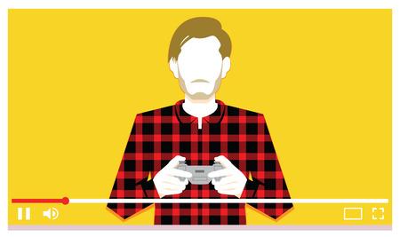 Vector Jonge Man Spelen Videogames Op Video Vector Illustratie