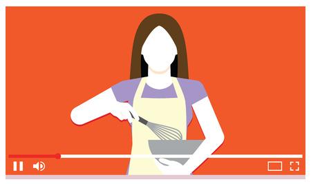 Vector Jonge Vrouw Koken Op Internet Video