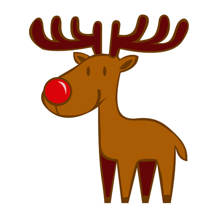 Vector Cartoon Happy Reindeer With Red Nose Isolated On White Background Illustration