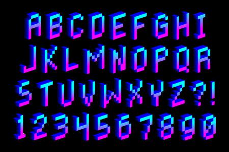벡터 픽셀 3D 글꼴 알파벳과 숫자입니다 일러스트