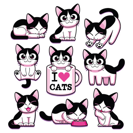 Vector Set Of Cartoon Cute Cats Isolated